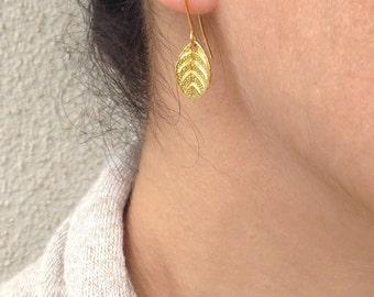 Small gold leaf earrings, Gold leaf charm, Minimalist gold earrings