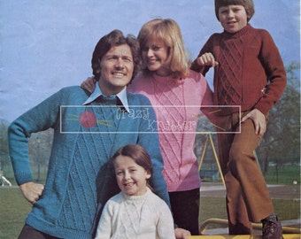 Family Sweaters DK 22-44in Chiltern 103 Vintage Knitting Pattern PDF instant download