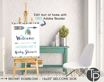 TRIBAL BABY SHOWER Welcome Sign, Instant download Baby Shower Welcome Sign, 16 x 20 Welcome Sign, Arrow, Personalize yourself, Welcome 0100