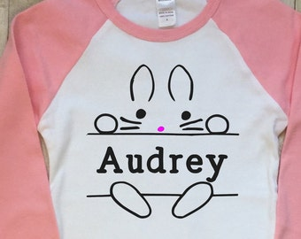 Easter Shirt Kids-Girls Easter Shirt-Personalized Easter Shirt-Bunny-Pink Raglan Sleeve Shirt-Blue Raglan Sleeve Shirt-Childs Easter Shirt
