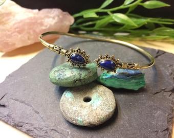 Fine Lapis Lazuli Brass Bracelet