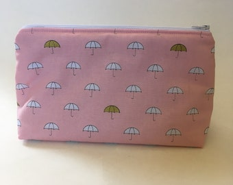 Pink Umbrella Cosmetic Bag, Pencil Pouch