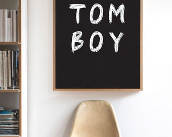 TOMBOY Printable Typography Poster Black & White Wall Art Decor 34''x44'' Scandinavian Print Scribble Typography