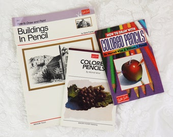 Art Instruction- Learn to draw book set- Three books- Colored Pencil how-to- Buildings in Pencil-