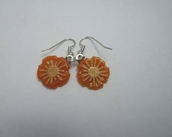 Hypo-Allergenic Orange Orange Daisy Flower Cast Glass with Gold Mica Drop Earrings with Surgical Steel Ear Wires