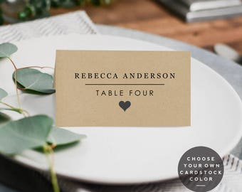 Rustic Wedding Place Card, Farmhouse Printable Template, DIY Minimalist Wedding, Place Cards Instant Download PDF Folded Tent Place Card
