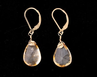 Wire Wrapped Citrine Earrings