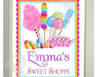 Personalized Wall Prints, 8 x 10, Wall Art, Candy Circus, Cotton candy, Lollipop, Gumballs, Candy,Children, Bedroom, Playroom,