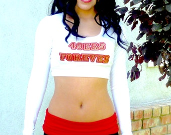 49ers Forever White Long Sleeve Crop Top