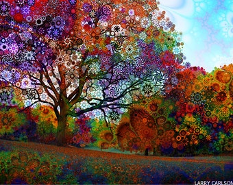 Afternoon Light - psychedelic fantasy tree / fine art print