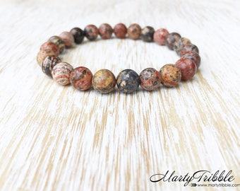 Mens Bracelet, Jasper Bracelet, Earthy Stone Gemstone Bracelet, Boho Jewelry, Neutral Bracelet, Healing Crystal Bracelet, Mala Bead Bracelet