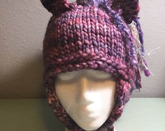 Large Merino Wool Unicorn Fall Winter Handknit Hat