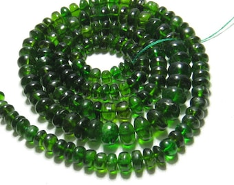 Green TOURMALINE - So Gorgeous High Quality Natural Green Color - Smooth Polished Rondelle Beads - 17 Inches Long size - 4 - 6 mm - 104 crt
