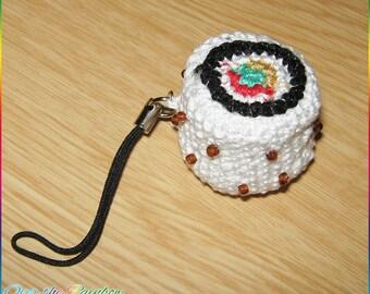 Phonecharm crochet sushi california roll