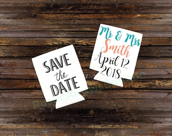 Save the date favors for wedding. Custom koozies can cooler drink holder for wedding, save the date, wedding favors, party favors.