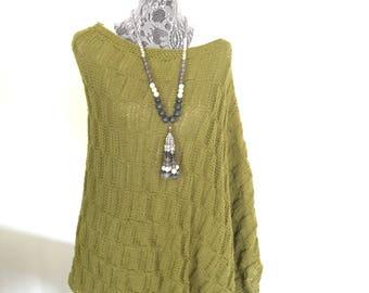 Hand Knit Summer Poncho - Olive Hand Knit Poncho - Boho Poncho - Bohemian Clothing - Fall Poncho - Women Poncho - Hand Knitted Poncho