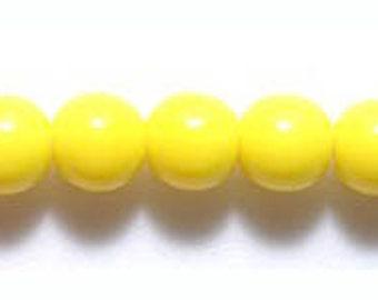 Opaque Yellow Round 6mm Czech Glass Beads 50pc #1361