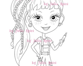 Digital stamps, Girl stamps, Digi, Craft, Big Eyes, Cute, Coloring pages, Crafting, Paper crafting, Cardmaking, Homemadecard. Crafty Girl