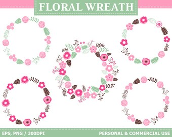 Digital Floral Wreath Clip Art - Flowers, Spring, Wreath, Leaves, Frames, Blossoms Clip Art