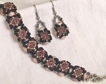 """Bracelet & Earrings """"Pink Heart"""" A64"""
