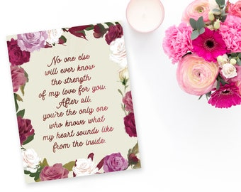 Quote Poster / Print for Baby's Nursery - Strength of my Love