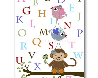 Art for Kids Room Kids Wall Art Baby Boy Nursery Room Decor Baby Nursery print Baby Boy Art Nursery alphabet nursery monkey bird