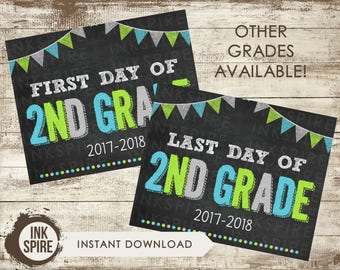 Printable First and Last Day of 2nd Grade School Chalkboard Sign, Back to School Sign, School Chalkboard Poster, INSTANT DOWNLOAD