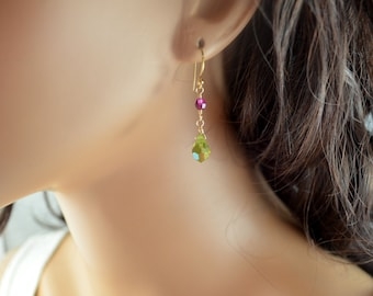 Dangle Earrings, Olive Green and Fuchsia, Swarovski Crystal Beads, Golden Bronze Earwires, Wire Wrapped Drop, Beaded Jewelry