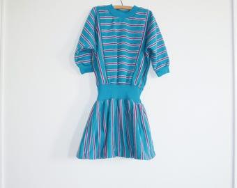 Vintage Teal Jersey Dress
