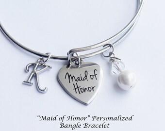Maid of Honor Bracelet. Maid of Honor Gift. Initial bracelet. Wedding Party Gift. Maid of Honor. Bangle Bracelet