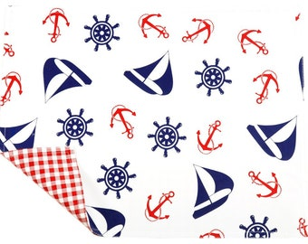 Nautical Navy Reversible Oilcloth Placemats