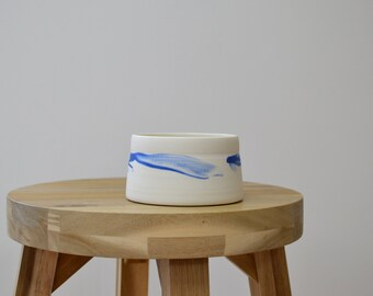 Porcelain White and Blue Bowl, Pot, Salt Pot, Dipping Dish by EleanorCraneCeramics