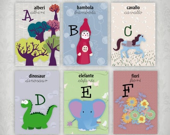 italian cards, ITALIAN alphabet cards to print, italian alphabet cards for schools and home, kids learning tools italian,illustrated cards