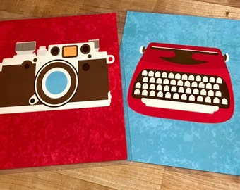 Front and Back Cover Set Vintage Media Camera Typewriter for use with the Erin Condren OR Happy Planner