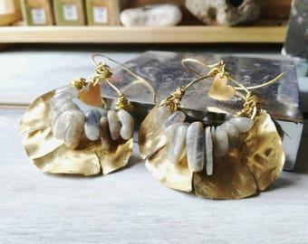 Labradorite earrings, metal earrings, dangle earrings, moon earrings,  boho earrings, handmade earrings, metalwork earrings