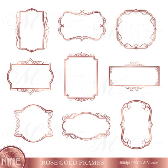 rose gold frame clipart digital clip art frames instant. Black Bedroom Furniture Sets. Home Design Ideas