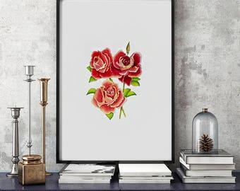 Rose original watercolor painting | 24 x 18 cm