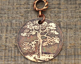 Coppe risland tree pendant, round flat antiqued metal jewelry, 28mm