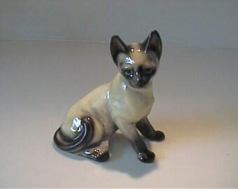 Vintage 1960's ceramic sitting Siamese cat