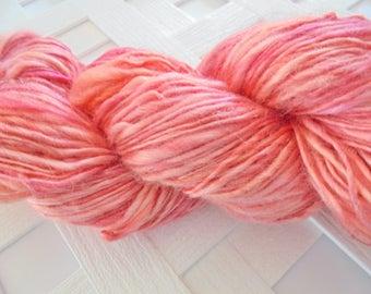 CORAL PEARLS Handspun Silk Sport Weight Yarn,  Sport Weight Silk Yarn, Sport Weight Handspun Yarn, 100% Silk Yarn, Tonal Yarn, Weaving Knit