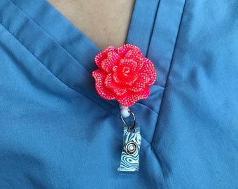 Flower Floral Neon Pink Peach Kawaii Badge Reel Retractable Work ID Holder Nurse CNA RN Technician Medical Nicu Bling Bright Colored