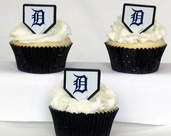 12 Detroit Tigers Cupcake Rings MLB Baseball Toppers Party Favors