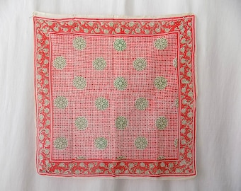 Indian Cotton Gauze Block Print/Handprinted Scarf 1970s