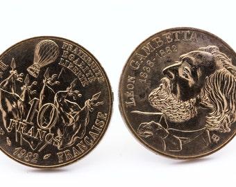 """Coin Cufflinks """" France """" 10 francs Gambetta . TMPL_SKU005474"""