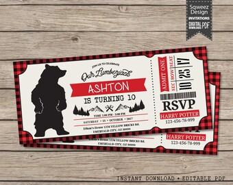 Lumberjack Invitation, Lumberjack Birthday Invitation, Lumberjack Invite, Lumberjack Invitation - Instant Download Editable PDF