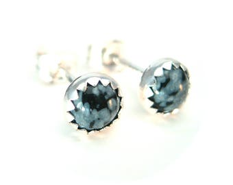 Snowflake Obsidian Stud Earrings, Black and White Earrings Studs in Silver