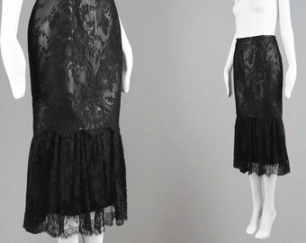 Vintage 90s ISTANTE by GIANNI VERSACE Leather & Lace Black Fishtail Skirt Leather Pencil Skirt Sheer Lace Skirt Gothic Skirt Designer Skirt