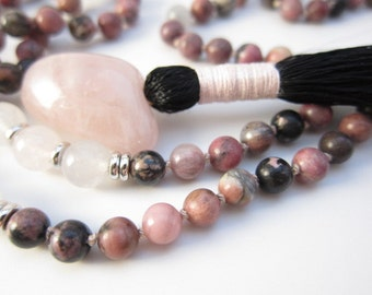 Hand-Knotted Rhodonite & Rose Quartz Meditation Mala | Pink Love Gemstone Tassel Necklace