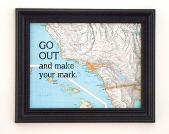 Vintage Map With Quote - Map and Text - Go Out and Make Your Mark - Los Angeles - Gallery Wall Art - Travel Theme - Graduation Gift