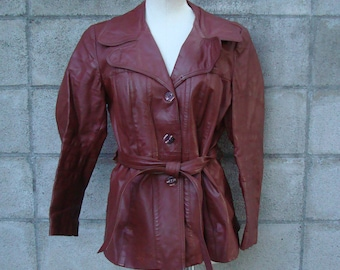 Women's Leather Jacket Vintage 1970s Burgundy Brown Leather Trench Coat